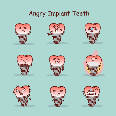 annoy: Angry cartoon tooth implant set, great for your design