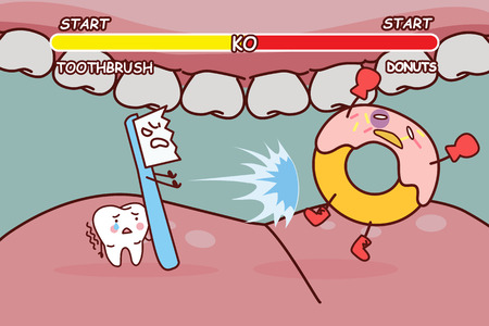 cartoon tooth brush is ko donuts , great for health dental care concept