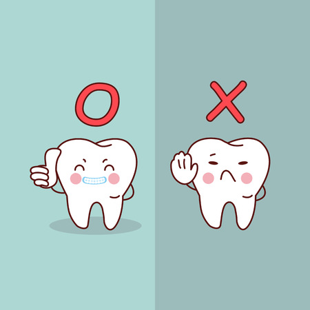 cartoon  tooth thumb up against stop sign, great for dental care concept