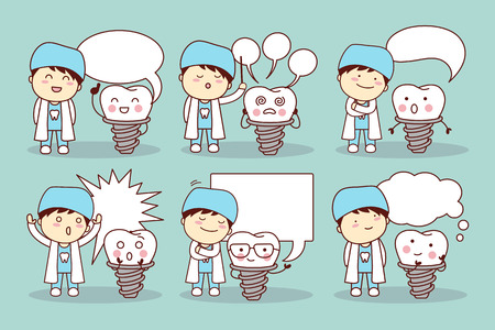 speech bubble hospital: cartoon implant tooth and dentist with speech bubble, great for your design Illustration
