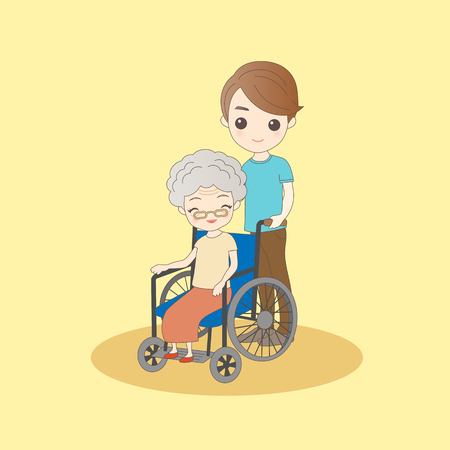 retire: cartoon man pushing old woman sit on wheelchair Illustration