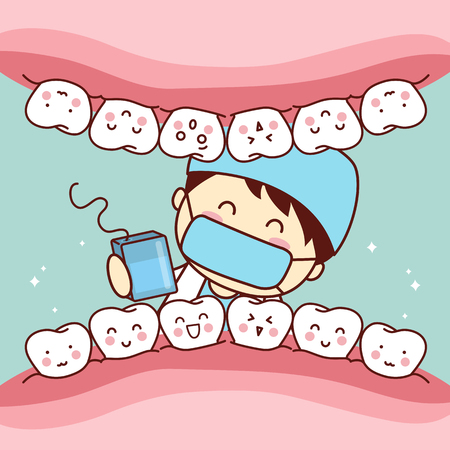 cute cartoon dentist doctor use floss to clean tooth, great for health dental care concept Illustration