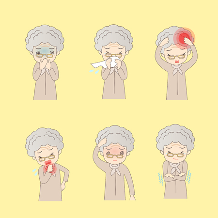 shivering: A set of six pose variations of sick old woman