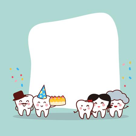 Gelukkige geboortedag aan tandfamilie met leeg aanplakbord, groot voor concept van de gezondheids het tandzorg