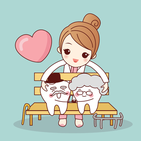 Happy cartoon old tooth couple hug together, great for health dental care concept