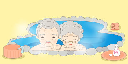 cute cartoon old couple in the hot spring