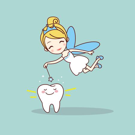 dent de bande dessinée avec fée des dents et baguette magique, idéal pour le concept de soins dentaires Vecteurs