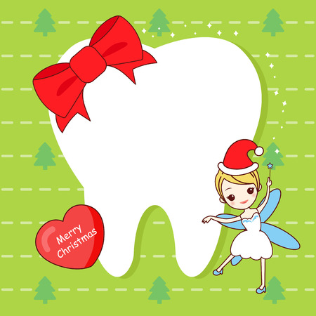 christmas card with cute cartoon tooth and tooth fairy Illustration