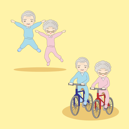 retire: cartoon old couple doing excercise,great for your design