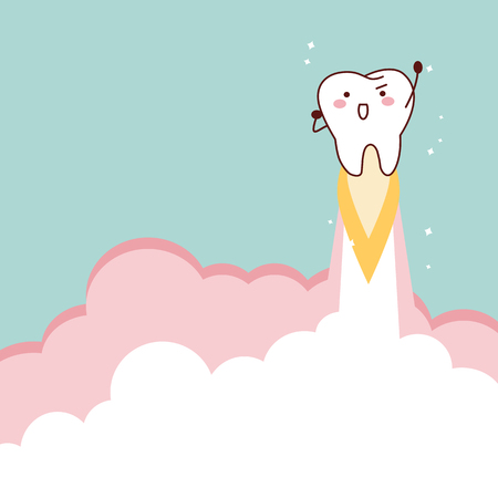 cartoon tooth rocket flying into sky, great for dental care concept