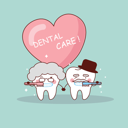 toothbrush: cute cartoon senior couple tooth with toothbrush, great for health dental care concept Illustration