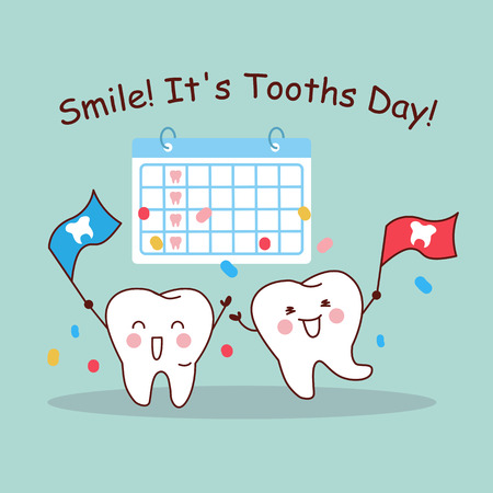 dental health: Smile it is tooth day, cartoon tooth with calendar, great for health dental care concept