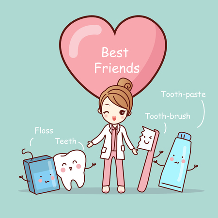 cute cartoon tooth best friends, great for health dental care concept