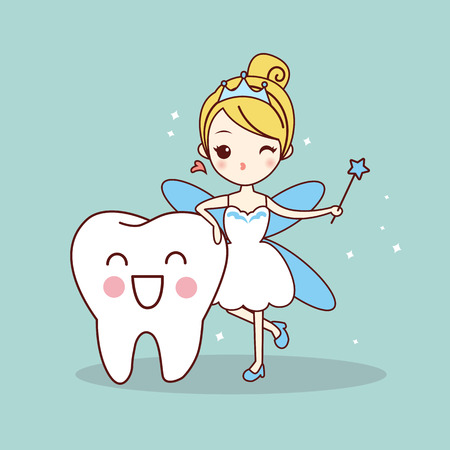 cartoon  tooth with tooth fairy and magic wand, great for dental care concept Stock Illustratie