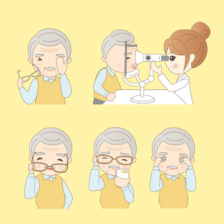 Elderly man do vision checks,great for your design 向量圖像