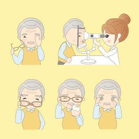 Oudere man doet visiecontroles, ideaal voor uw ontwerp Stock Illustratie