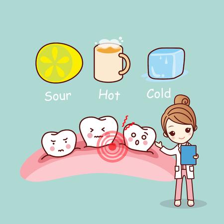 bande dessinée mignonne des dents sensibles, idéal pour le concept de soins dentaires de santé Vecteurs