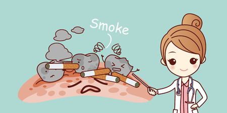cartoon woman dentist with cigarette and white teeth 版權商用圖片 - 70274396