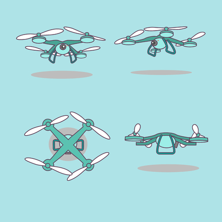 viewing angle: cute cartoon drone with every angle, great for your design