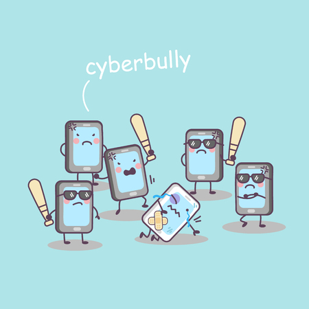 threatened: cute cartoon cellphone bully, great for technology concept design Illustration