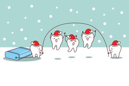 diente de dibujos animados de Navidad con hilo dental, ideal para el concepto de cuidado dental
