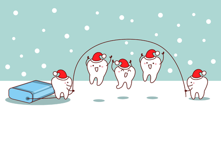 christmas cartoon tooth with floss, great for dental care concept