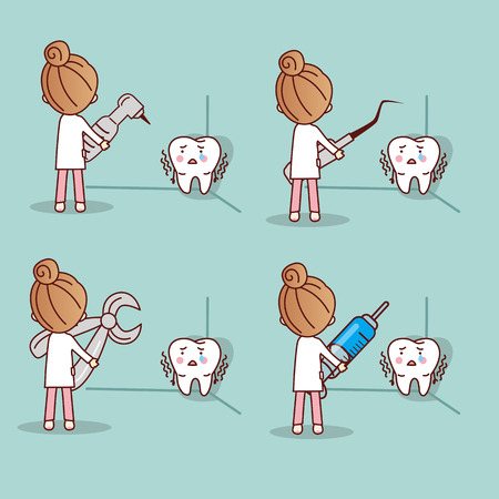 cartoon fear tooth with dentist and dental equipment, great for health dental care concept