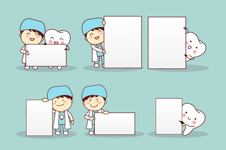 see a doctor: cartoon tooth with billboard, great for your design
