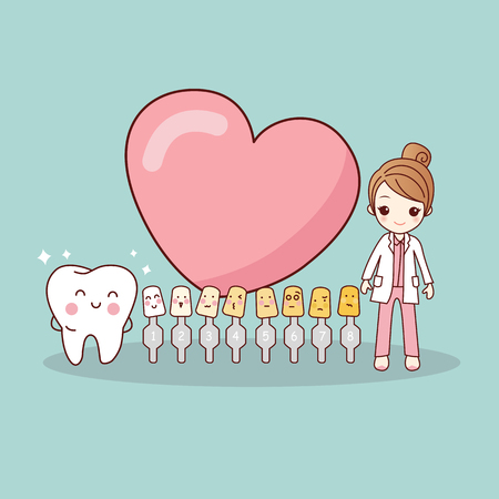 bleaching: Happy cartoon tooth and dentist with love heart and whitening and bleaching tool, great for dental care and teeth whitening and bleaching concept