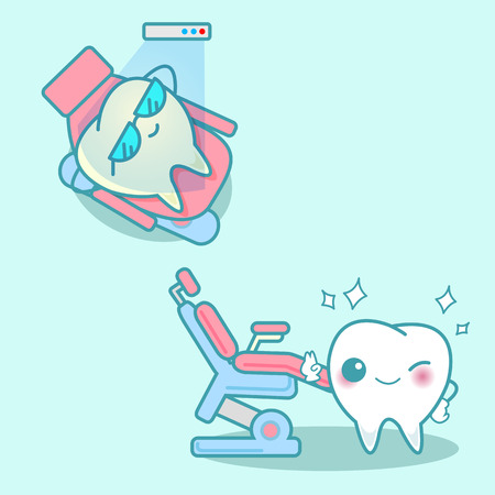 cartoon tooth with whitening and bleaching tool Illustration