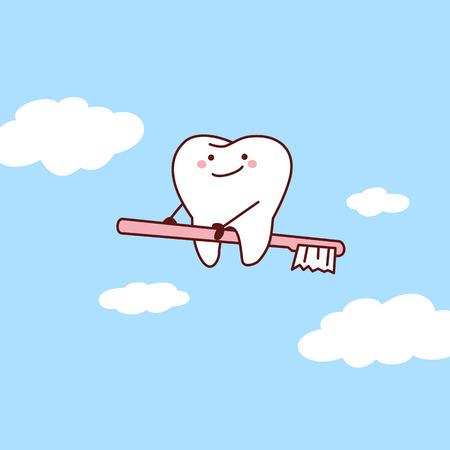 lekarz: cartoon ząb jeździć szczoteczką do nieba, świetnie dla koncepcji opieki stomatologicznej