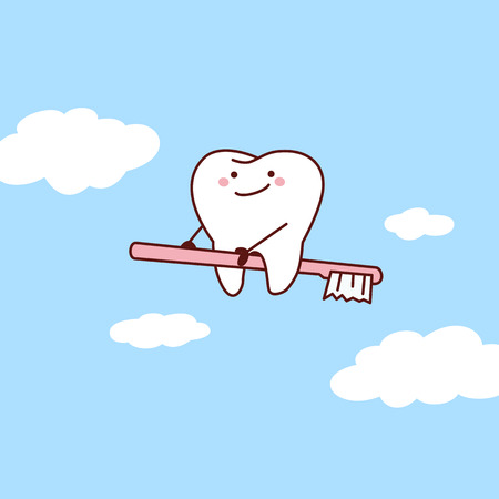 cartoon tooth riding toothbrush into sky, great for dental care concept