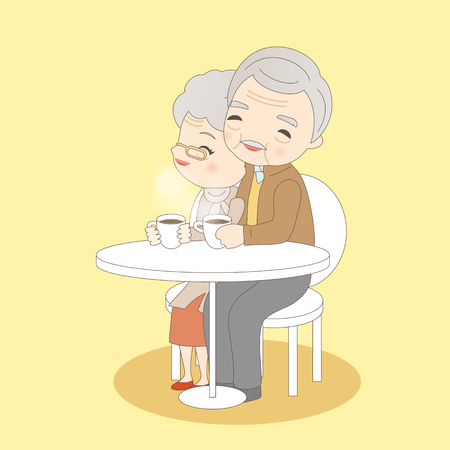 great coffee: old couple drink coffee, great for your concept Illustration