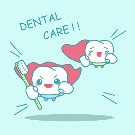 dientes sanos: cartoon super tooth with toothbrush, great for dental care concept Vectores