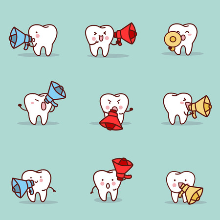 introduce: cute cartoon tooth with speaker set, great for health dental care concept Illustration