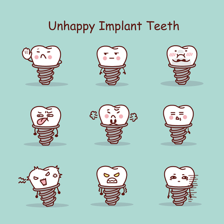 Unhappy cartoon tooth implant set, great for your design