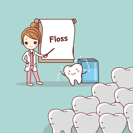cartoon doctor or dentist teach teeth to use floss, great for dental care concept