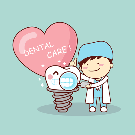 Happy cartoon implant tooth and dentist with love heart, great for health dental care concept
