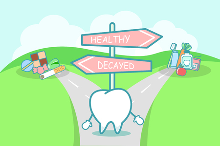 cute cartoon tooth think confused between health and unhealth food on the seperated road