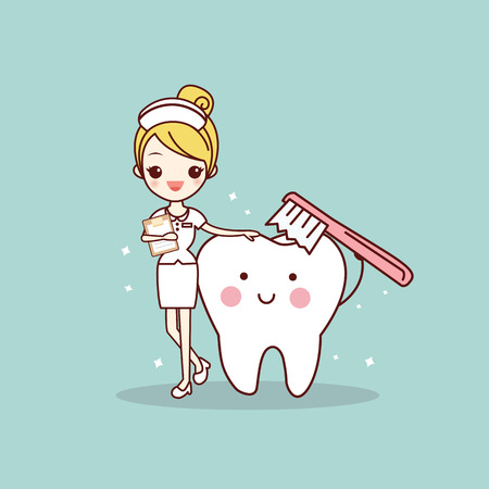 cartoon tooth and nurse with toothbrush , great for dental care concept