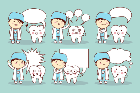 speech bubble hospital: cartoon tooth and dentist with speech bubble, great for your design