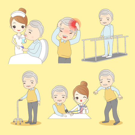 The cartoon old man stroke to do rehabilitation, great for your design