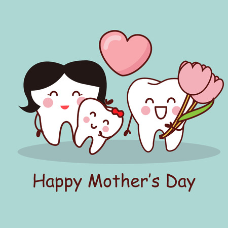 Diente de la historieta con el Día de la Madre Feliz, gran concepto de cuidado dental de la salud Ilustración de vector