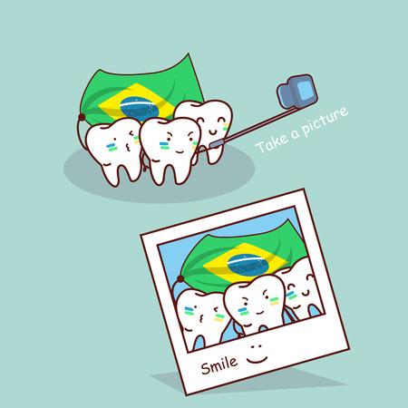 dibujos animados diente brasil tomar una foto, ideal para el cuidado dental y brasil 2016 concepto Vectores