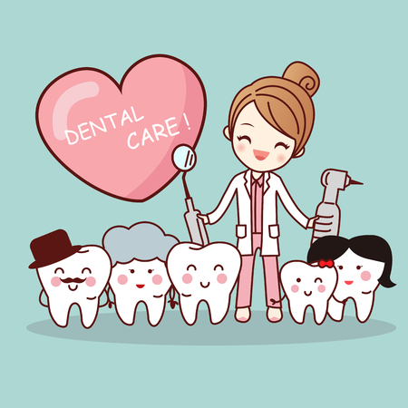 Happy cartoon tooth family with dentist doctor, great for health dental care concept Vectores