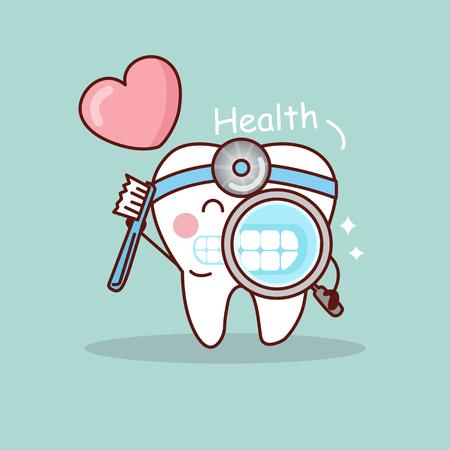 Dente del fumetto felice e dentista prendere spazzolino e ingrandendo con cuore d'amore