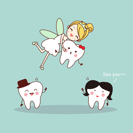 cute cartoon tooth smile happily with tooth fairy Illustration