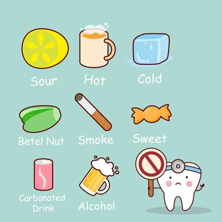 cute cartoon tooth feel bad with healthy problem