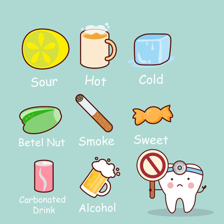 cute cartoon tooth feel bad with healthy problem