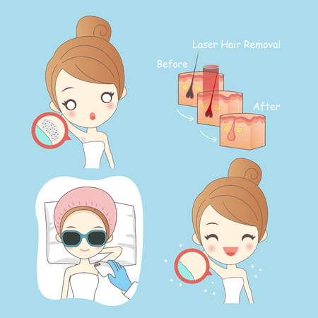 Cartoon beauty woman with epilator for youur healthy concept Illustration
